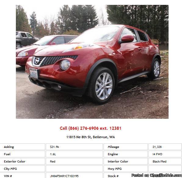 2012 Nissan Juke SL Red SUV I4